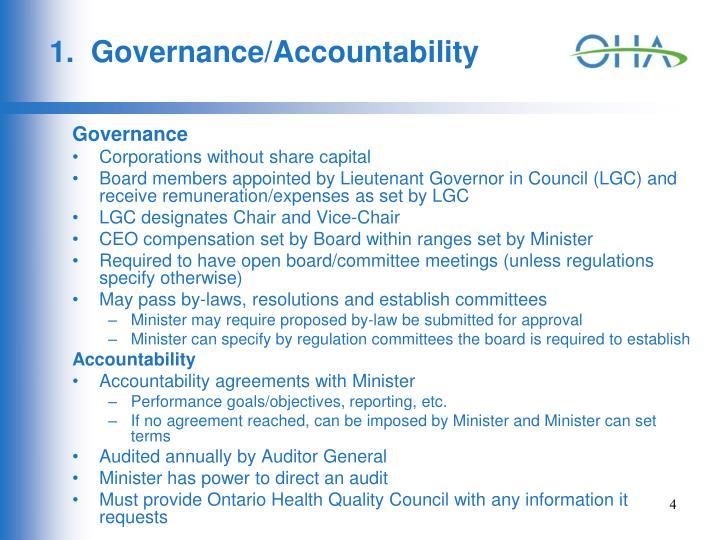 1.  Governance/Accountability