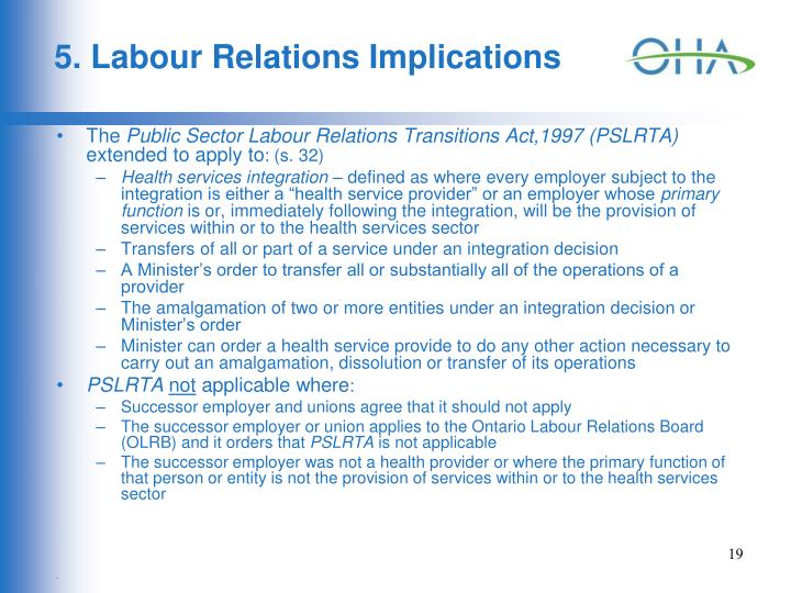 5. Labour Relations Implications