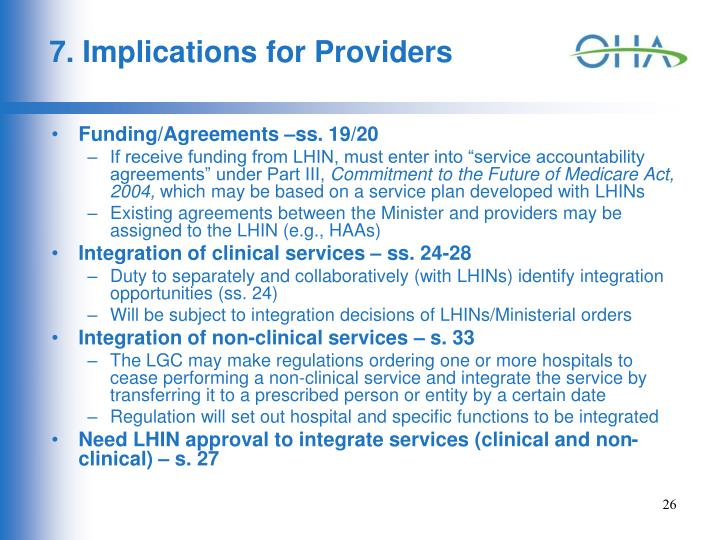 7. Implications for Providers
