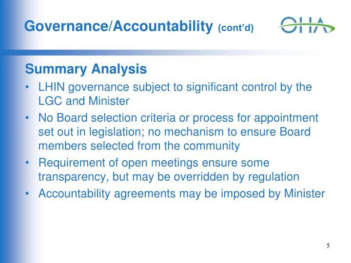 Governance/Accountability