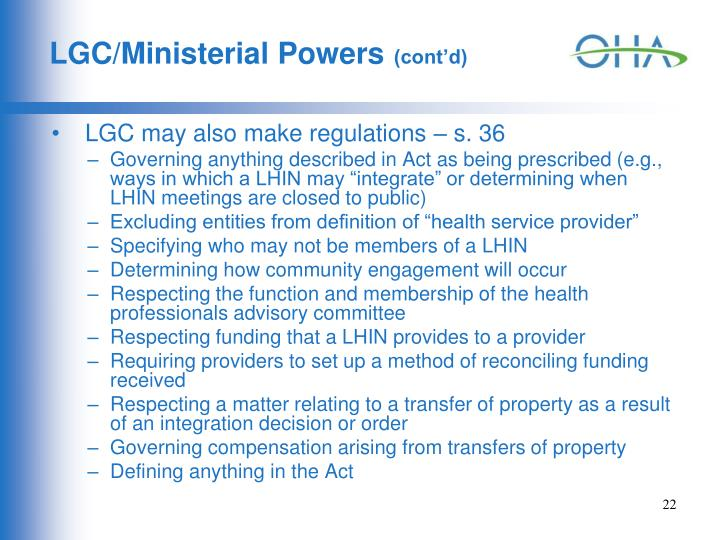 LGC/Ministerial Powers