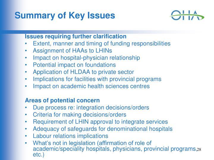Summary of Key Issues