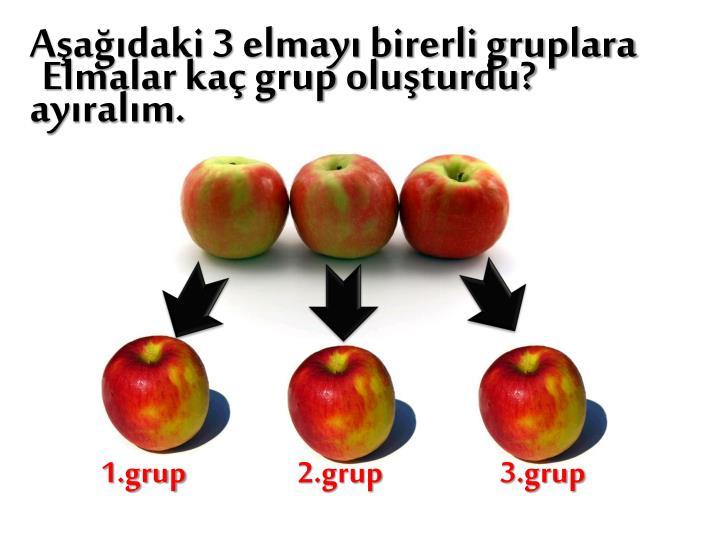 Elmalar kaç grup oluşturdu?