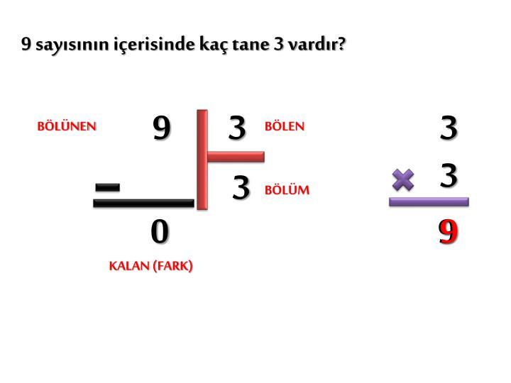 9 sayısının içerisinde kaç tane 3 vardır?