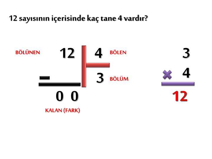 12 sayısının içerisinde kaç tane 4 vardır?