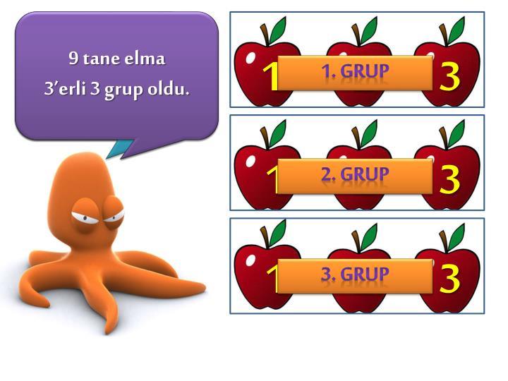 9 tane elmayı 3 'er 3'er gruplara ayırırsam acaba kaç ayrı grup olur?
