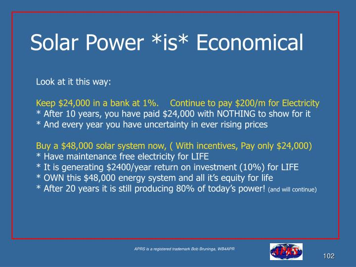Solar Power *is* Economical