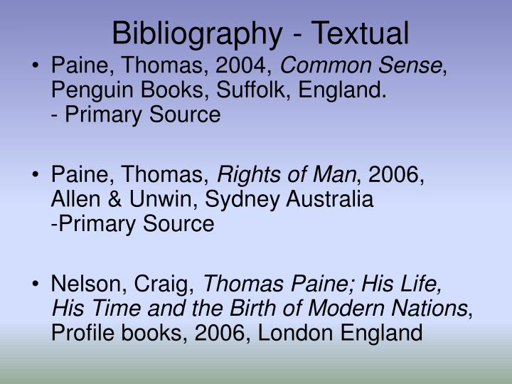 Bibliography - Textual