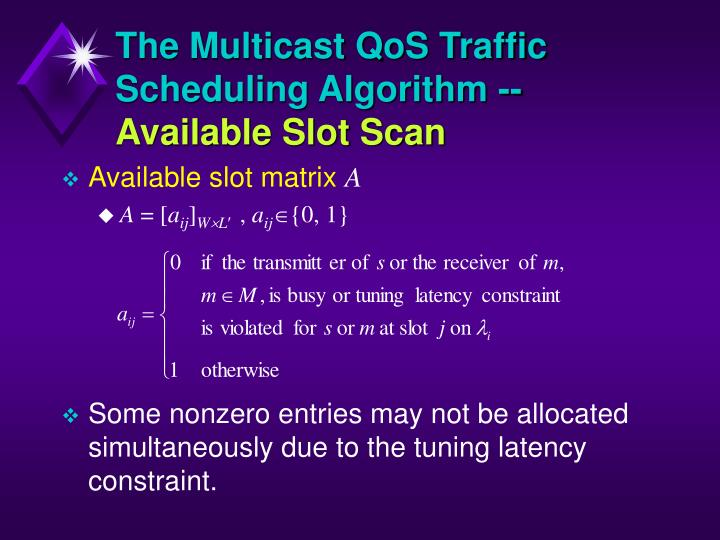 The Multicast QoS Traffic Scheduling Algorithm --