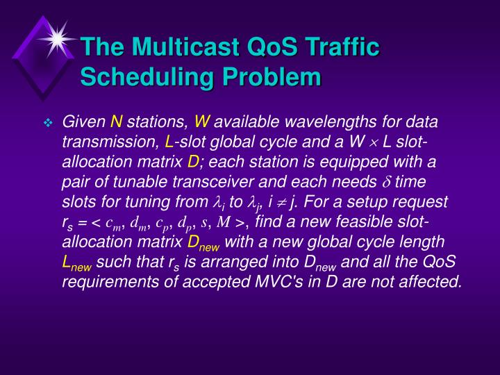The Multicast QoS Traffic Scheduling Problem