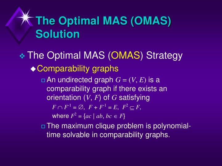 The Optimal MAS (OMAS) Solution