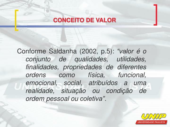 CONCEITO DE VALOR
