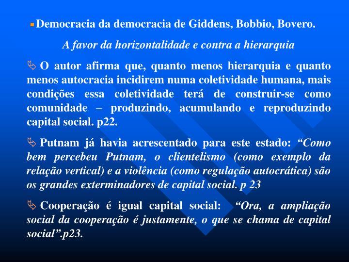 Democracia da democracia de Giddens, Bobbio, Bovero.
