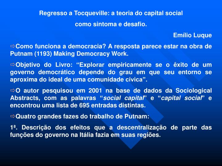 Regresso a Tocqueville: a teoria do capital social