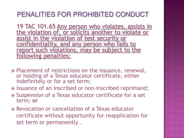 PENALITIES FOR PROHIBITED CONDUCT