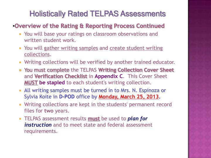 Holistically Rated TELPAS Assessments