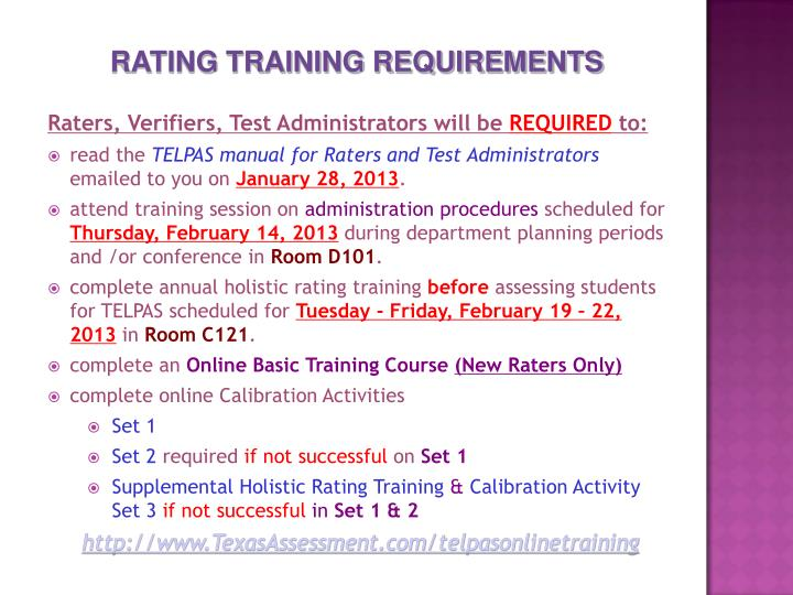 RATING TRAINING REQUIREMENTS