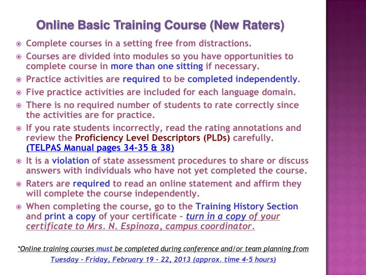 Online Basic Training Course (New Raters)