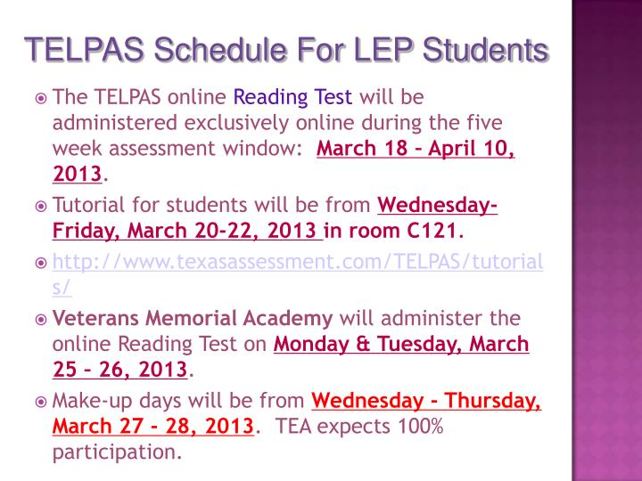 TELPAS Schedule For LEP Students