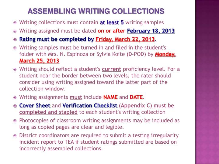 ASSEMBLING WRITING COLLECTIONS