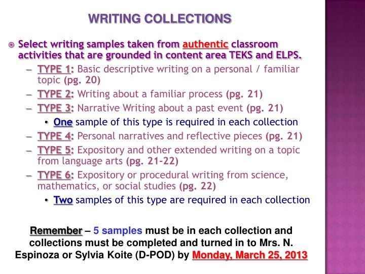 WRITING COLLECTIONS