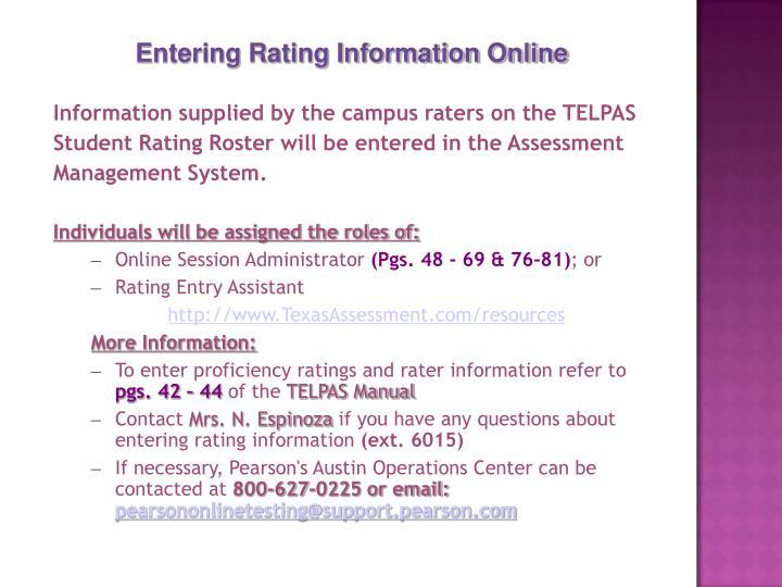 Entering Rating Information Online