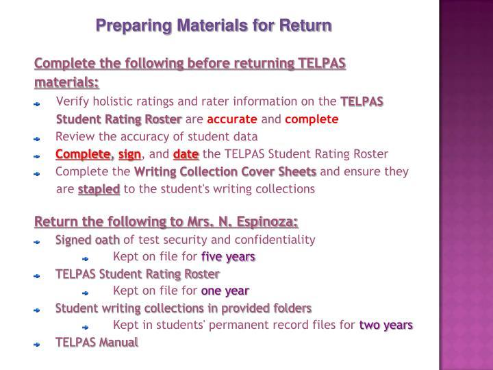 Preparing Materials for Return