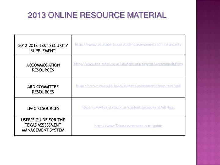 2013 ONLINE RESOURCE MATERIAL