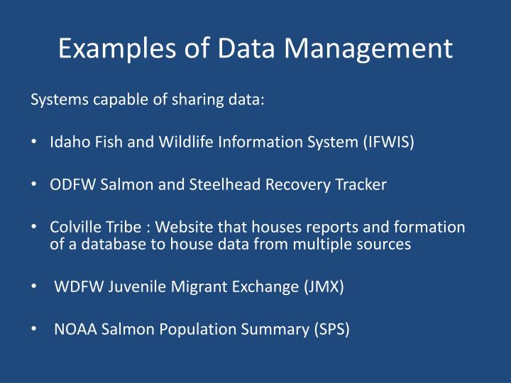 Examples of Data Management