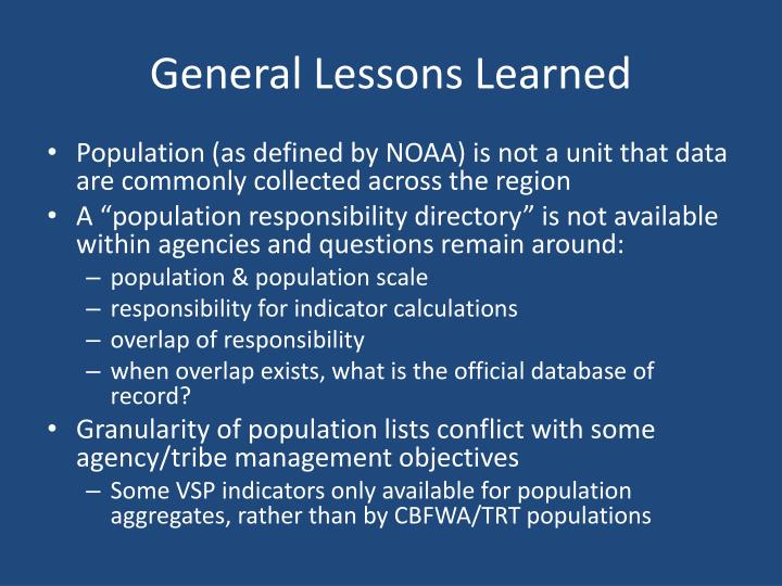 General Lessons Learned