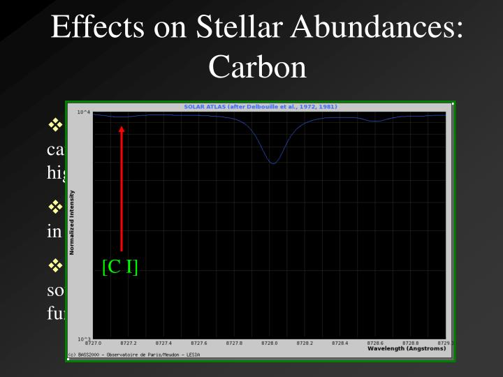 Effects on Stellar Abundances: Carbon