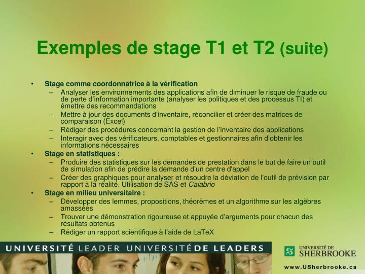 Exemples de stage T1 et T2
