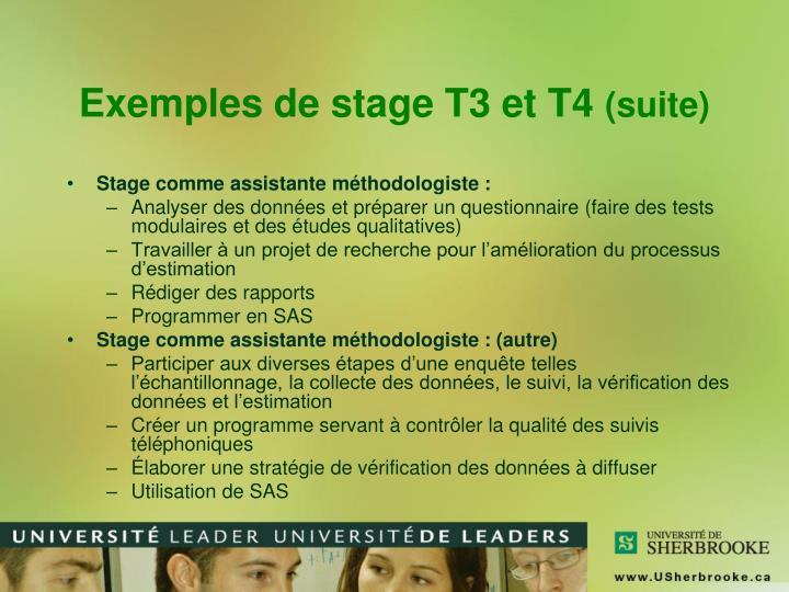 Exemples de stage T3 et T4