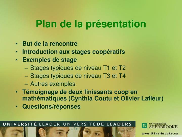 Plan de la présentation