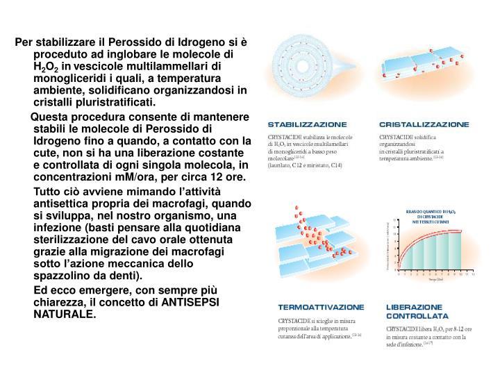 Per stabilizzare il Perossido di Idrogeno si è proceduto ad inglobare le molecole di H
