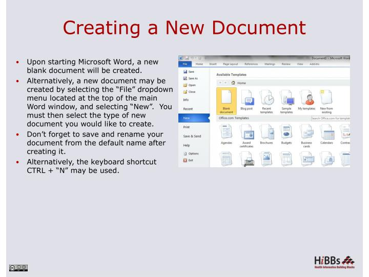 Creating a New Document