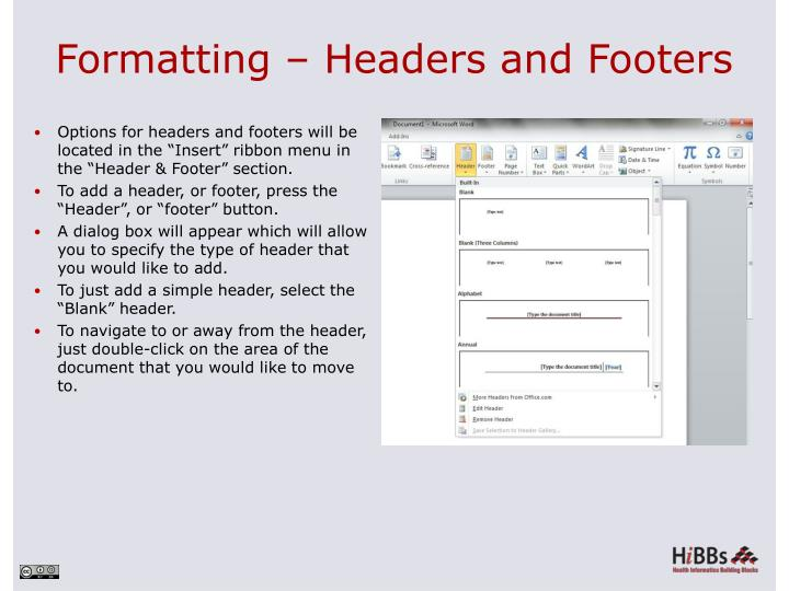 Formatting – Headers and Footers