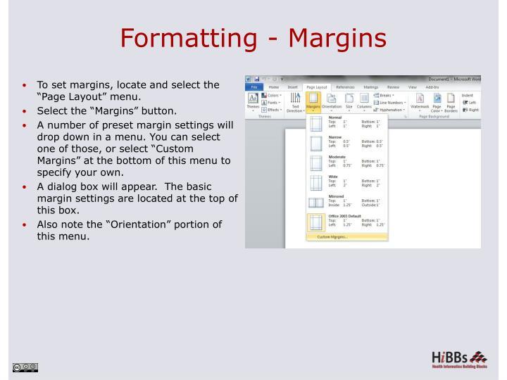 Formatting - Margins