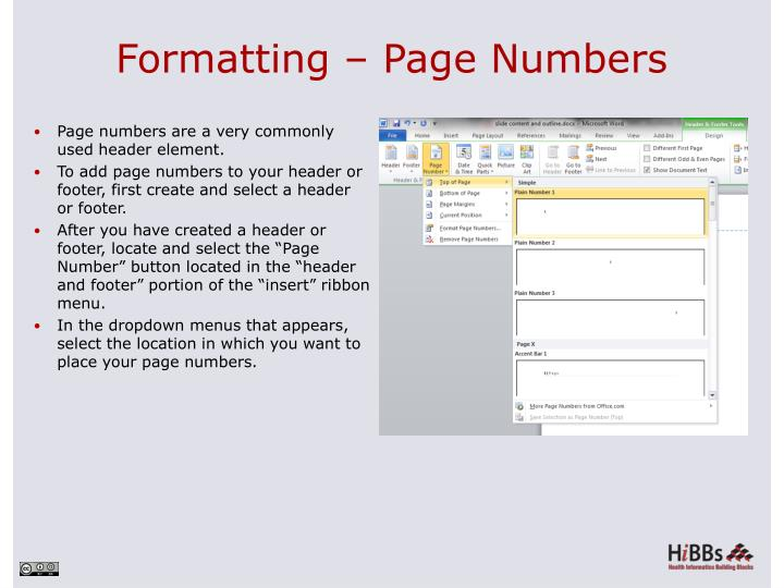 Formatting – Page Numbers