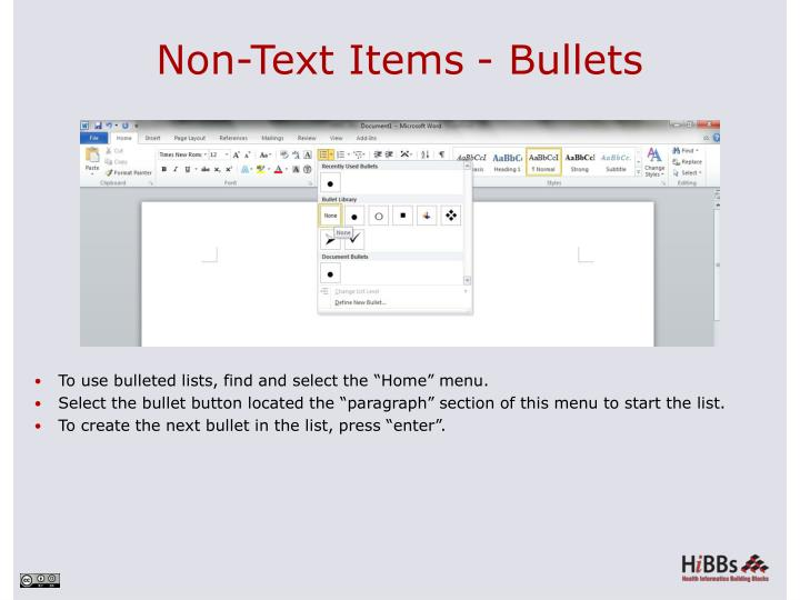 Non-Text Items- Bullets