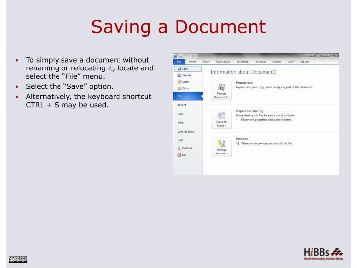 Saving a Document