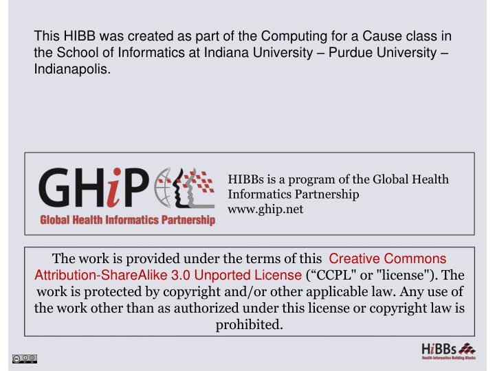 This HIBB was created as part of the Computing for a Cause class in the School of Informatics at Indiana University – Purdue University – Indianapolis.