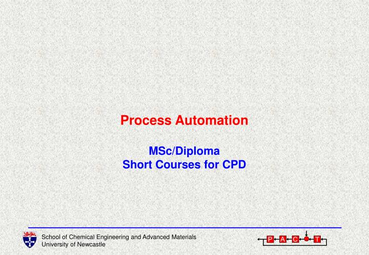Process automation msc diploma short courses for cpd