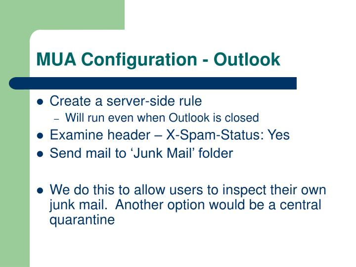 MUA Configuration - Outlook