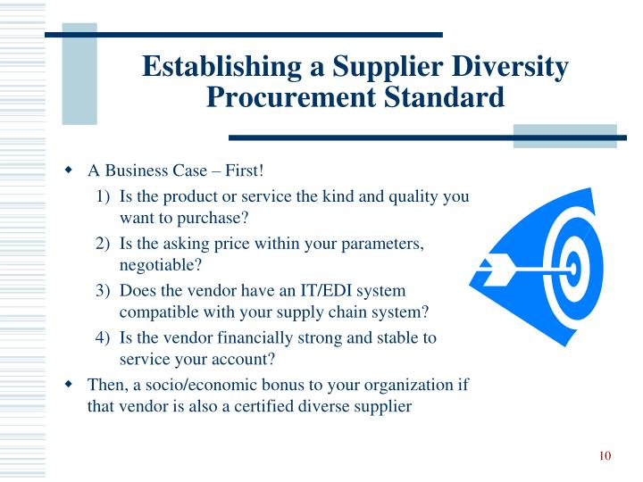 Establishing a Supplier Diversity Procurement Standard