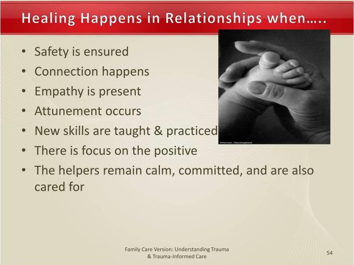 Healing Happens in Relationships when…..