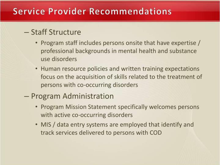 Service Provider Recommendations