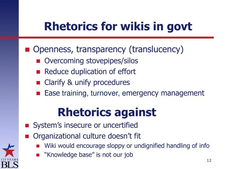 Rhetorics for wikis in govt