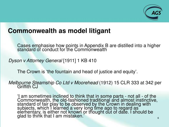 Commonwealth as model litigant