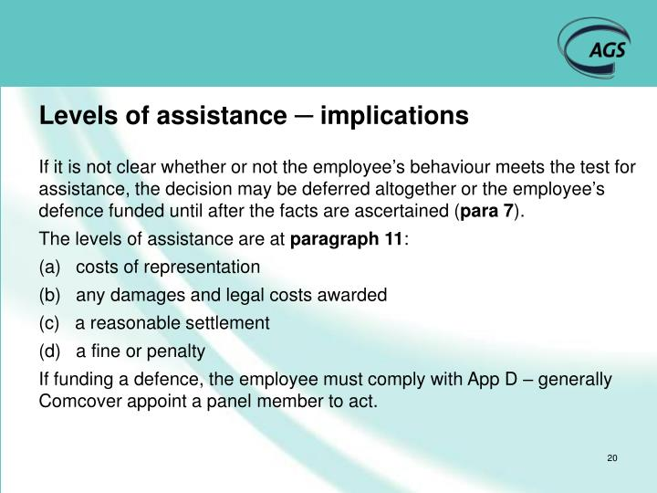 Levels of assistance ─ implications